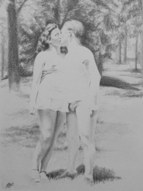Amoureux - 1967 - Drawing,  21x30 cm ©2012 by Arno.2 -            Amoureux