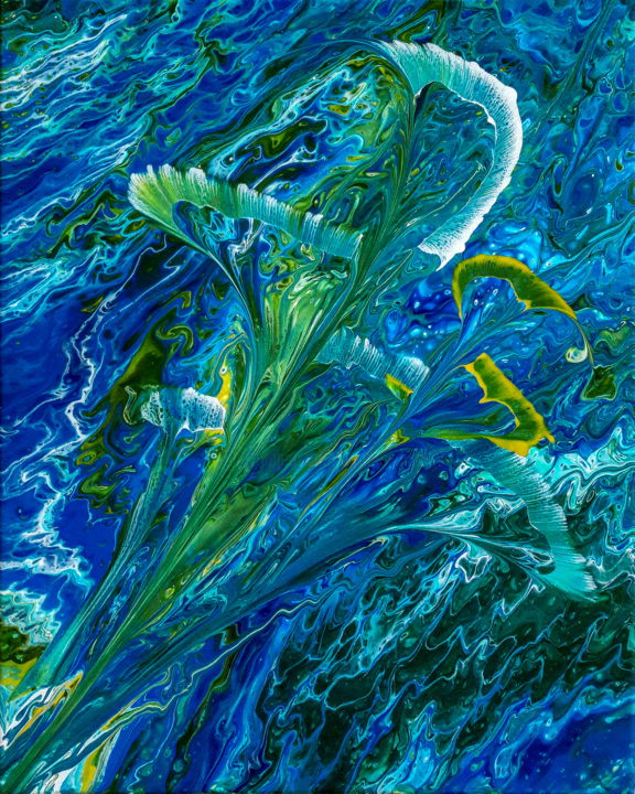 Blue Callas - Painting,  20x16x0.75 in ©2019 by Arnold Danilov -                                                        Abstract Art, Abstract Art, Flower, Fine Art, Fluid Painting, Original Artwork, Acrylic, Abstract, Flowers, Canvas