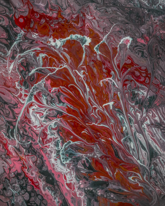 Pink Mood - Painting,  20x16x0.75 in ©2019 by Arnold Danilov -                                            Abstract Art, Abstract Art, Abstract, Acrylic, Fluid Painting, Original Artwork, Fine Art, Canvas, Red, Pink, Gray, Ready to hang