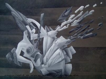 illusion der zeit - Painting,  16.5x22.1 in, ©2005 by Arno Schaetzle -