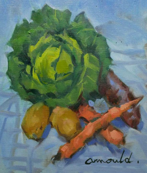 Le choux de Françoise - Painting,  9.1x7.5 in, ©2020 by Christian Arnould -                                                                                                                                                                          Impressionism, impressionism-603, Still life