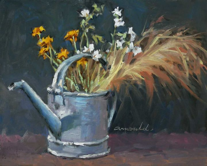 L'arrosoir (huile sur toile 41 x 33) - Painting,  13x16.1 in, ©2020 by Christian Arnould -                                                                                                                                                                          Impressionism, impressionism-603, Still life