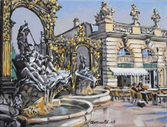 Place Stanislas - Painting,  9.5x13.8 in, ©2009 by Christian Arnould -                                                                                                                                                                          Impressionism, impressionism-603, Cities