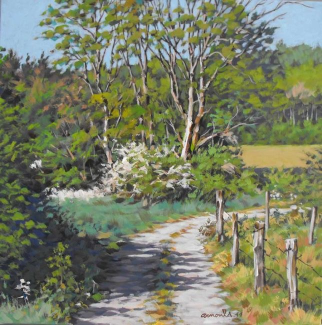 Le Chemin - Painting,  19.7x19.7 in, ©2011 by Christian Arnould -                                                                                                                                                                          Impressionism, impressionism-603, Nature
