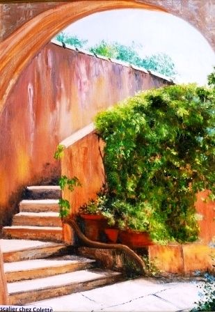 L'escalier chez Colette (12F) - Painting,  24x18.1 in, ©2010 by Rossa -