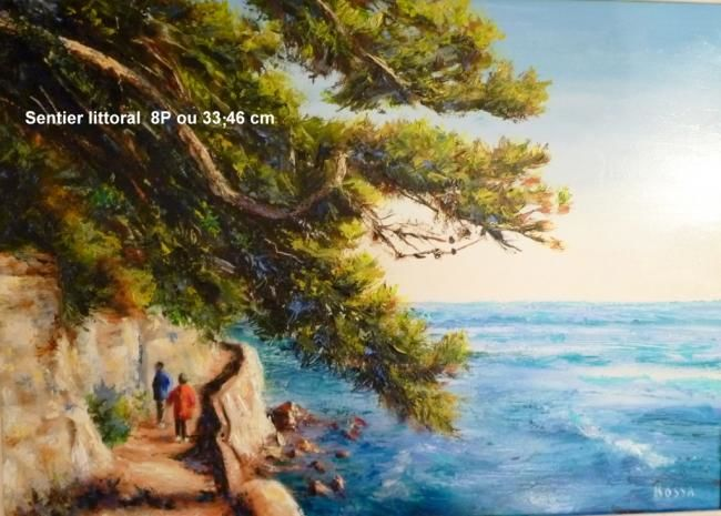 Sentier littoral - Painting,  13x18.1 in, ©2009 by Rossa -