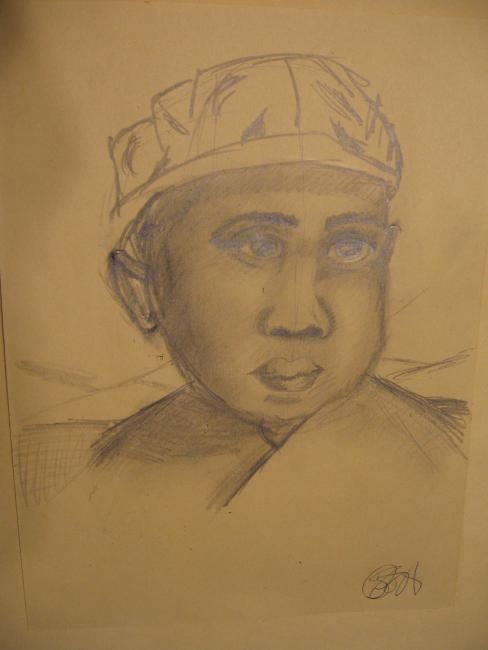 """Drawing titled """"Muslim child"""" by Kirsty Foster, Original Art,"""