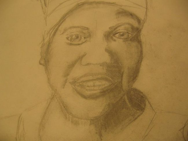 """Drawing titled """"African Woman"""" by Kirsty Foster, Original Art,"""