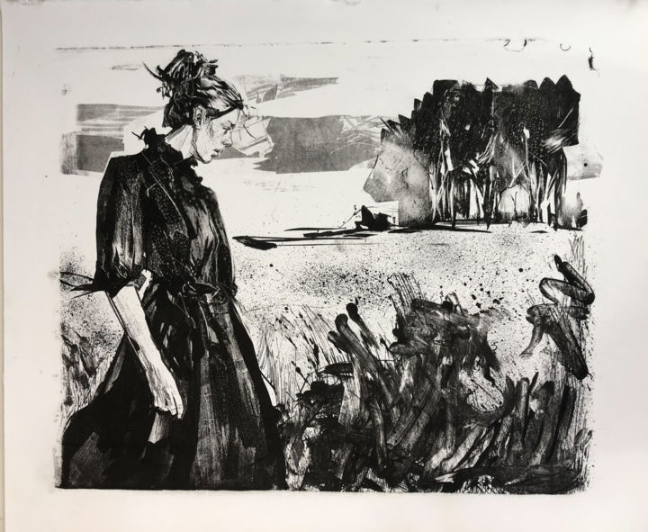"""Printmaking titled """"Spaziergang"""" by Arsentij Pawlow, Original Art, Lithography"""