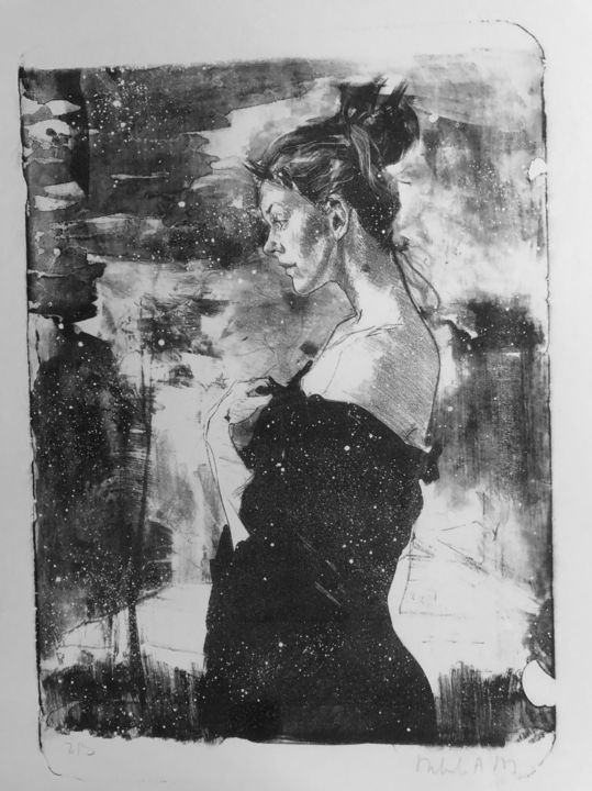 """Printmaking titled """"Erster Schnee"""" by Arsentij Pawlow, Original Art, Lithography"""