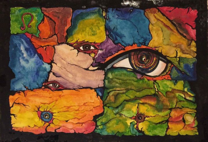 """Painting titled """"Behind the wall"""" by Arshad Khan, Original Art, Watercolor"""