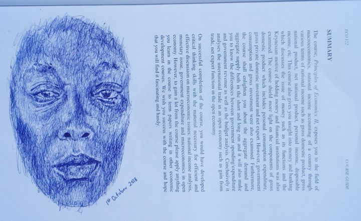 Original - Ballpoint pen sketch - Recycled Art - Drawing,  8x10.5x0.4 in, ©2018 by Affordable Art -                                                                                                                                                                                                                                                                                                                                                                                                                                                                                                  Illustration, illustration-600, People, Portraits, Women, ballpoint pen drawing, biro sketch, recycled art, repurposed art, skethbook