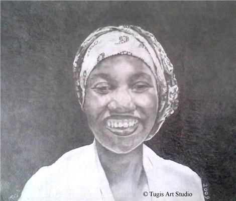 Good Good Laugh - Drawing,  10.3x12.2x0.4 in, ©2009 by Affordable Art -                                                                                                                                                                                                                                                                                                                                          Black and White, Culture, People, Rural life, Women, drawing art, african woman