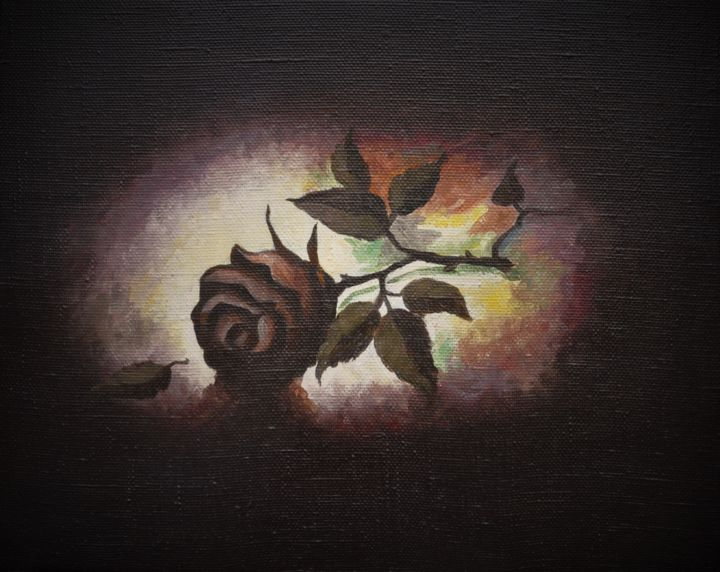 Black Rose - Painting,  40x50 cm ©2016 by art-forest -                                                                                            Classicism, Canvas, Botanic, Still life, Colors, Flower