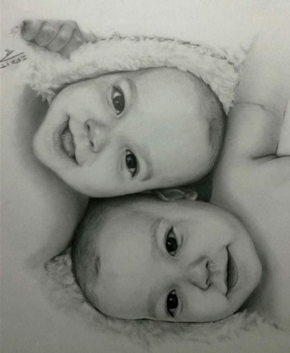 Twins - Dessin,  23,6x0,4 in, ©2018 par IFRIT -                                                                                                                                                                          Hyperrealism, hyperrealism-612, Famille