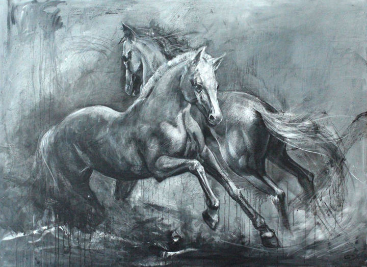 Horses - Painting,  51.2x70.9x1.2 in, ©2018 by KOBI -                                                                                                                                                                                                                                                                                                                                                              Expressionism, expressionism-591, Animals, Horses, Animals, Horses, Art