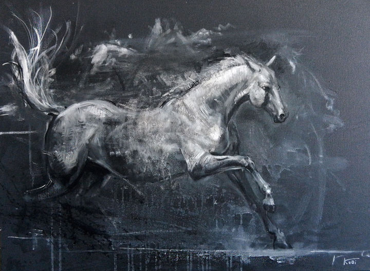 horse - Painting,  23.6x31.5x1.2 in, ©2018 by KOBI -                                                                                                                                                                                                                                                                                                                  Expressionism, expressionism-591, Animals, horse, Animals, Art