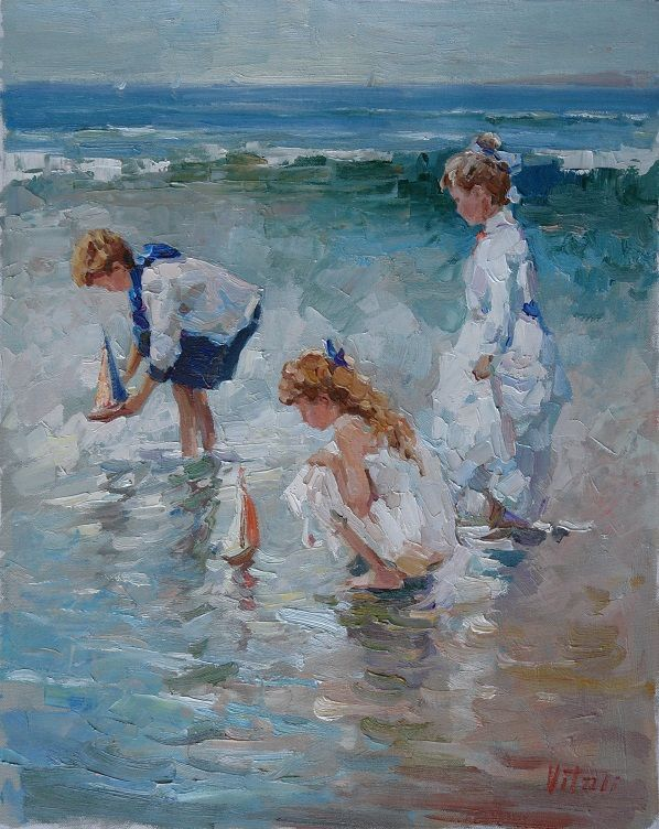 Children summer day ukrainian artists paintings for Paintings of toddlers