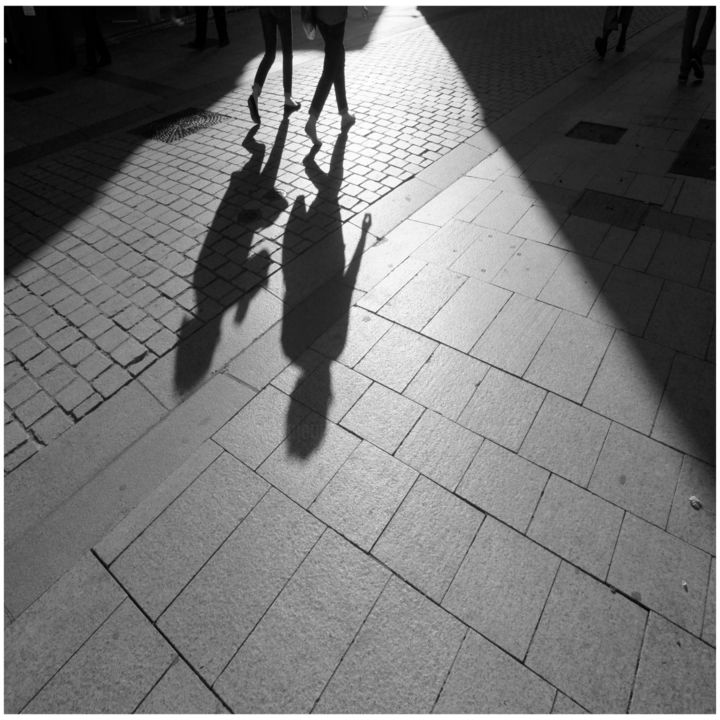 In the street 10  50x50  #artistsupportpledge - Photography,  19.7x19.7x0.1 in, ©2017 by Daniel Gautier -                                                                                                                                                                                                                                                                                                                                                                                                                                                                                                                                                                                                                                                                                                                                                                                                                                                                                                                                                          Figurative, figurative-594, Cityscape, Street, rue, urban, artwork, déambulation, ville, Paris, Caen, limited, fineart, mouvements, ombres, shadows, lumière, Limited Edition, Black and White, artistsupportpledge