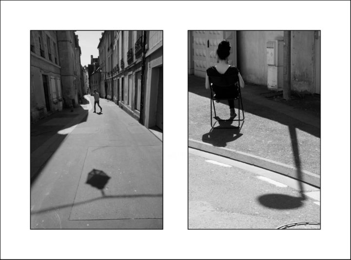 In the street (38-39) - Photography,  19.7x27.6 in, ©2018 by Daniel Gautier -                                                                                                                                                                                                                                                                                                                                                                                                                                                                                                                                                                                                                                                                                                                                                                                                                                                                  Figurative, figurative-594, Black and White, Cityscape, Cities, Street, urban, ville, Caen, ombres, shadow, urbanshot, fineart, graphisme, silhouette, photographs, Limited Edition, Black and White