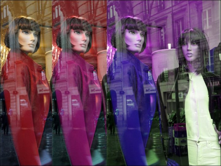 Mannequins et reflets de femmes RFR 200 - Digital Arts,  29.5x39.4x0.8 in, ©2019 by Daniel Gautier -                                                                                                                                                                                                                                                                                                                                                                                                                                                                                                                                                                                                                                                                                                                                                                                                                                                                                                                                                                                                                                                  Conceptual Art, conceptual-art-579, Women, Places, Fashion, Cityscape, reflets, mannequins, vitrines, paris, trottoirs, shopwindows, reflections, surreal, fashion, women, parisvitrines, frenchfashion, rue, surrealisme, mode, consumérisme