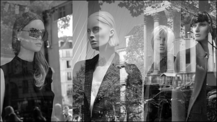 Reflets de femmes RFR 201-NB - Photography,  19.7x35.4x0.8 in, ©2020 by Daniel Gautier -                                                                                                                                                                                                                                                                                                                                                                                                                                                                                                                                                                                                                                                                                                                                                                                                                                                                                                                                                                                                                                                                                                                                                                                      Impressionism, impressionism-603, Women, Fashion, Cityscape, People, reflets, mannequins, vitrines, mode, surréalisme, beauté, femmes, paris, rue, consumérisme, fashion, urban, street, sidewalks, shop windows, glamour, reflections, storefront windows, dress style