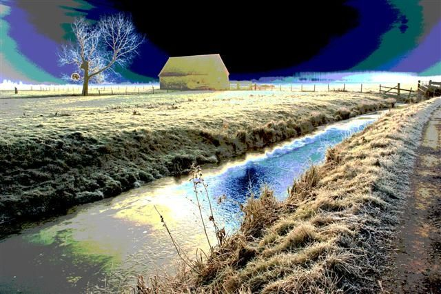 Petit matin 3 version post-modern - Photography,  23.6x35.4 in, ©2015 by Daniel Gautier -                                                                                                                                                                                                                                                                  Figurative, figurative-594, Photo faite un matin d' hiver en campagne, proche Honfleur, et retravaillée sur photoshop