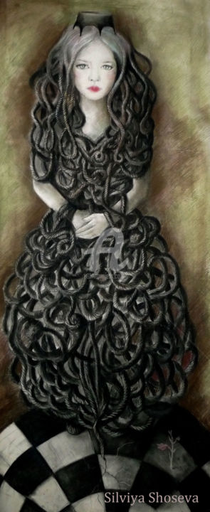 """Drawing titled """"Тhe queen of the er…"""" by Art Sil, Original Art, Charcoal"""