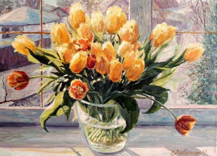 Bouquet of yellow tulips - Painting,  50x70 cm ©2019 by ART Yaseva -                                            Realism, Still life, art, oil, flower, живопись