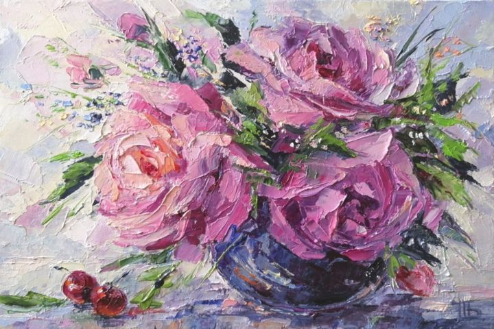 Bouquet of roses - Painting,  20x30 cm ©2019 by ART Yaseva -                                                                    Impressionism, Still life, Colors, Flower, art, oil, rose, pink