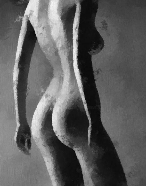 Shadow - Painting,  27.6x19.7 in, ©2019 by ART Yaseva -                                                                                                                                                                                                                                                                                                                                                                                                                                                                                                                                              Impressionism, impressionism-603, Women, People, Nude, Body, Black and White, art, naked, women, oil