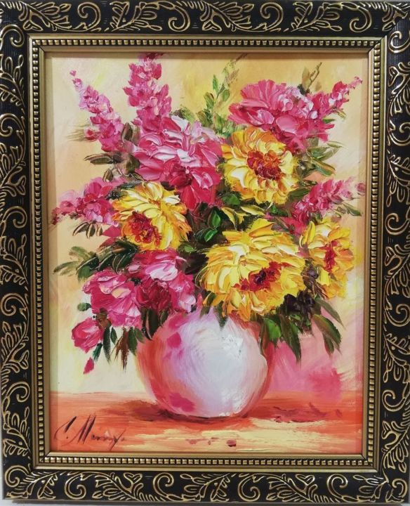 flowers in a vase - Painting,  11.8x9.8 in, ©2019 by ART Yaseva -                                                                                                                                                                                                                                                                                                                                                                                                                                                                                                  Impressionism, impressionism-603, Botanic, Seasons, Nature, Colors, Flower, art, oil, flower