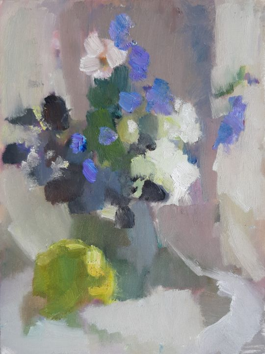 Nice & Lovely. Beige mood with flowers - Painting,  15.8x11.8x0.8 in, ©2017 by Irina Žagata -                                                                                                                                                                                                                                                                                                                                                                                                                                                                                                                                                                                                                                                                                                                                                                                                                                                                                                                                                                                                                                                                                                                                                                                                                                                                              Impressionism, impressionism-603, Still life, Agriculture, Botanic, Children, Colors, Painting, Oil, Impressionism, Expressionism, Contemporary painting, Art Deco, Classicism, Minimalism, Realism, Abstract Art, Botanic, Colors, Family, Fantasy, Flower, Garden, Geometric, Health & Beauty, Home, Interiors