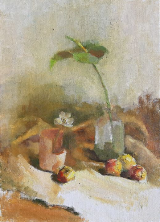 Early morning - Painting,  70x50x2 cm ©2018 by Irina Žagata -                                                                                                                                Classicism, Impressionism, Minimalism, Realism, Still life, Botanic, Children, Colors, Cuisine, Painting, Impressionism, Realism, Still life, Flowers, Oil, Love / Romance, Spirituality, Nature, Health & Beauty, pprofessional painting, art, clear and gentle, купить картину маслом, проффесиональная живопись, Women, Žagata, Zagata, Irina Zagata, Spring, Spring Flowers, apples, spring mood