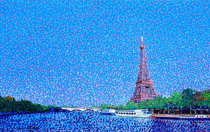 """Painting titled """"Eiffeltower and the…"""" by Juchul Kim, Original Art, Oil"""