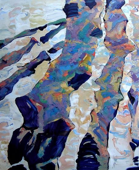 """Painting titled """"Peupliers  I"""" by Vilkovo Boats, Original Art, Oil"""