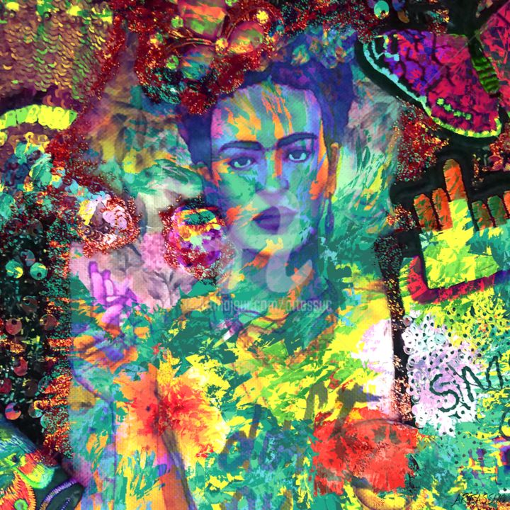 Frida Khalo - Digital Arts,  23.6x23.6 in, ©2020 by Isabelle Cussat (Artassuc) -                                                                                                                                                                                                                      Figurative, figurative-594, Celebrity, People