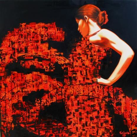 """Painting titled """"Red - On the move"""" by Tatiana Bernard, Original Art, Oil"""