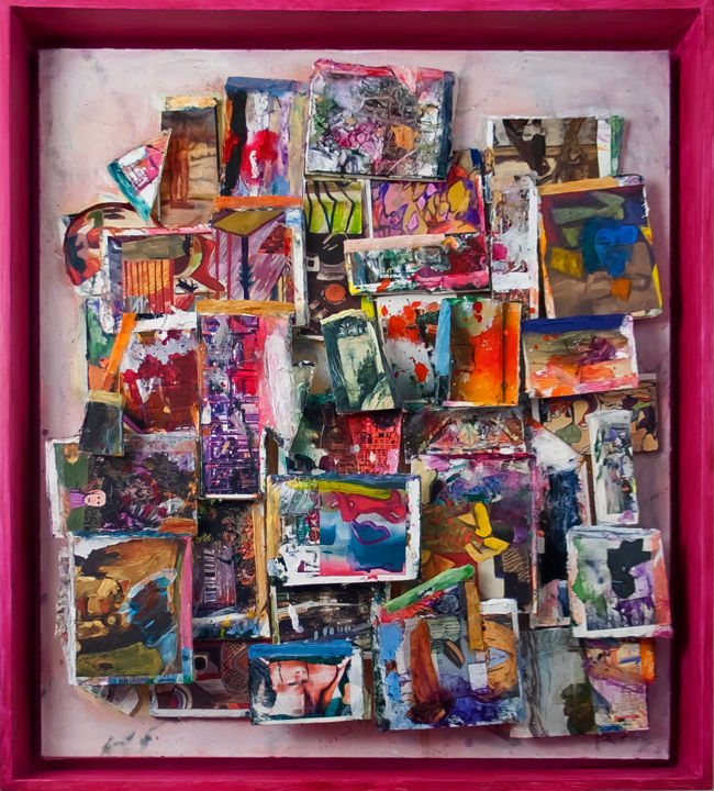 """Collages titled """"Here Below"""" by Don Perley, Original Art, Ink Mounted on Wood Panel"""