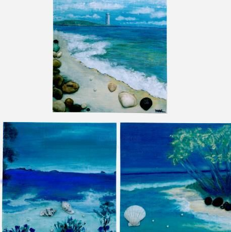 """Painting titled """"3 beaches"""" by Mal, Original Art, Oil"""