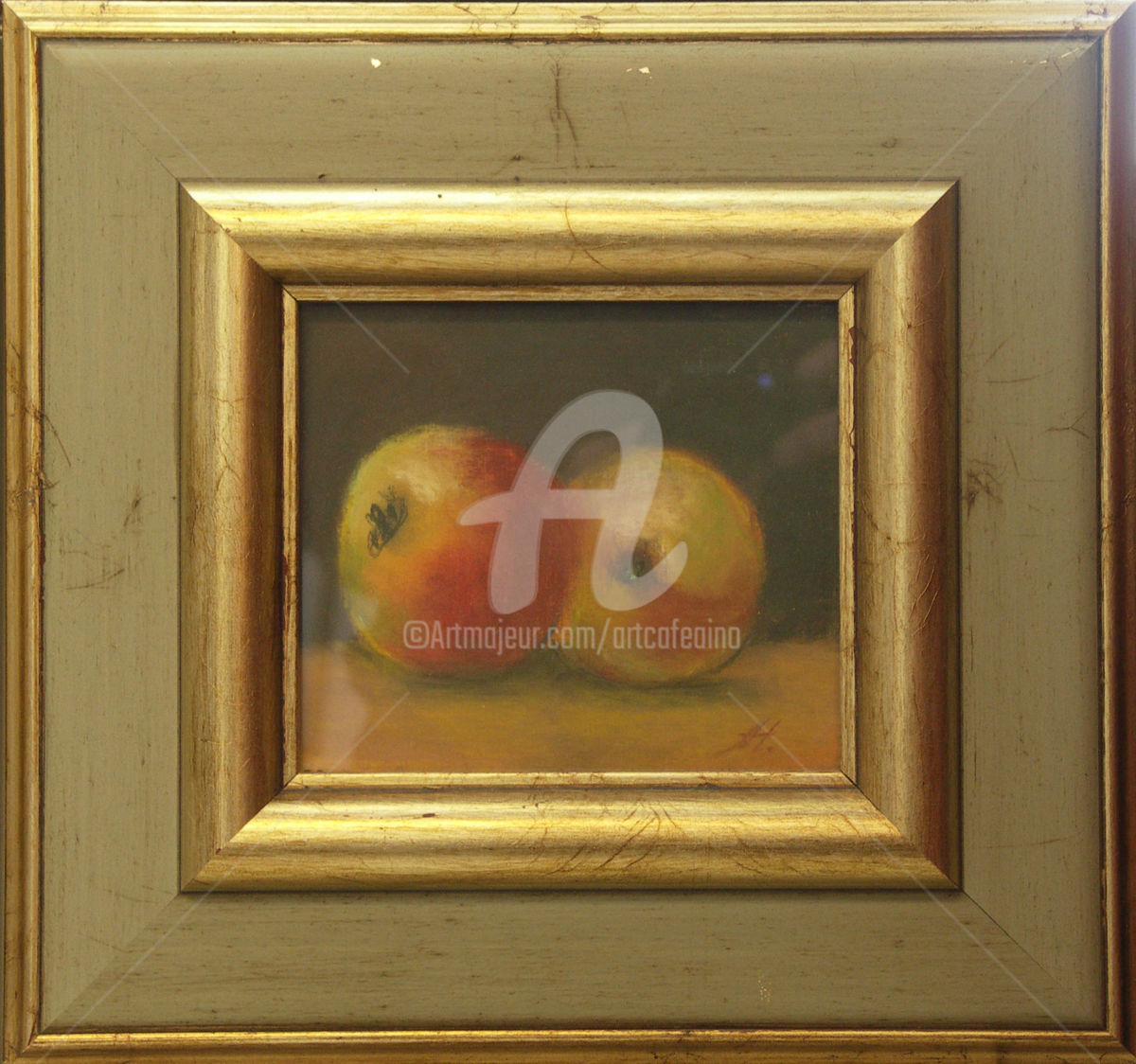 Two Apples - Painting,  13x15 cm ©2005 by Anja Huotari -                                                            Realism, Wood, Food & Drink, anja huotari, pastel painting on board, two apples, glass and frame, pastellimaalaus vanerille, lasitettu, kehystetty, kaksi omenaa, hedelmiä, fruits