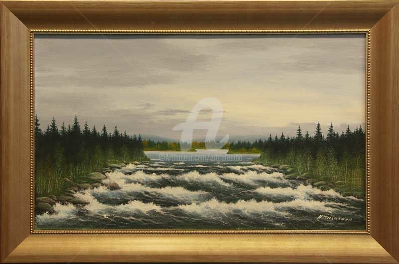 River rapids in the middle of Finland - Painting,  30x50 cm ©2008 by Helge Mieskonen -                                                            Figurative Art, Canvas, Landscape, Helge Mieskonen, acrylic painting on canvas, koskimaisema, river rapids, akryylimaalaus kankaalle