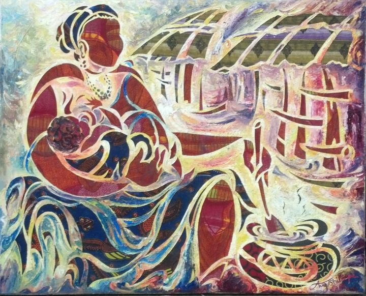 """Painting titled """"occupation-d-une-me…"""" by Augustin Tshimpe Wa Nzambi (Aug.Tshimpe  /  = Me Tshipas =), Original Art, Other"""