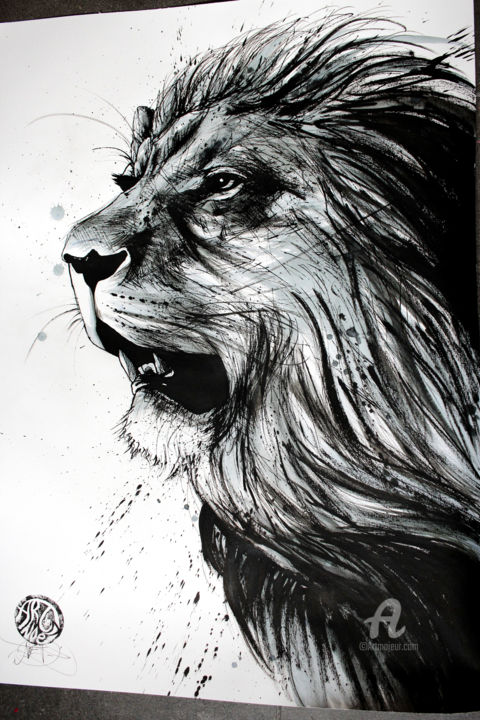Black and white lion drawing 59 4x42 cm 2018 by art de noé