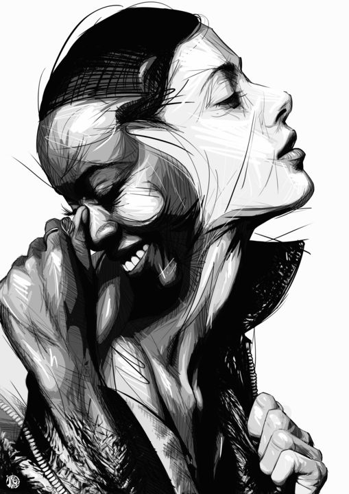 Black white digital arts 2018 by art de noé figurative art