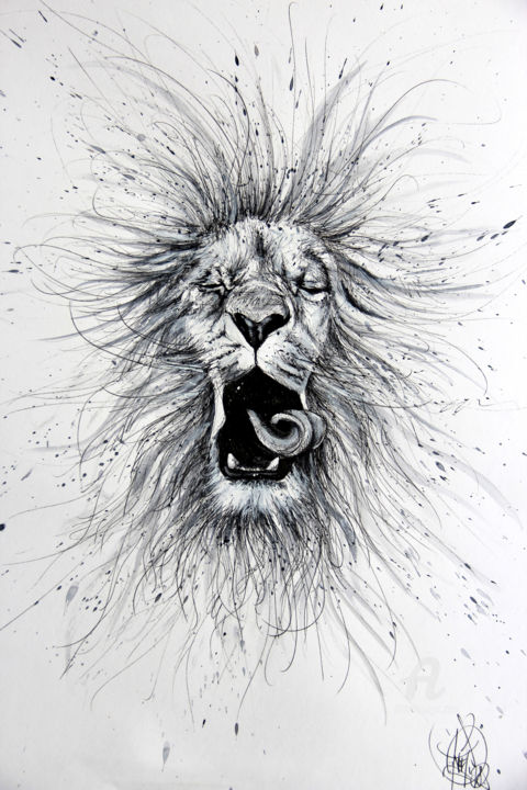 White Lion Drawing By Art De Noé Artmajeur