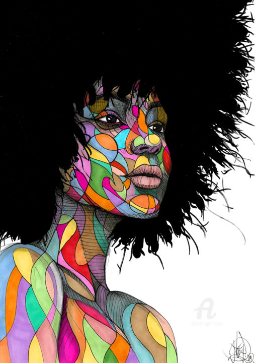 Afro colorful - Dessin,  11,7x8,3 in, ©2019 par Art de Noé -                                                                                                                                                                                                                                                                                                                                                                                                                                                                                                                                                                                                                                                                                  Figurative, figurative-594, Femmes, afro girl, afro, african woman, black, colors, colorful, love, portrait, artdenoe, art de noé, noé pauporté
