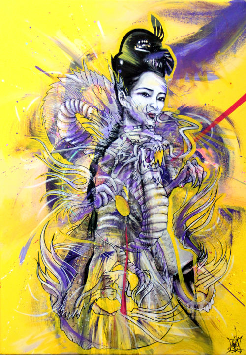 Dragon Geisha - Painting,  27.6x19.7x1.6 in, ©2020 by Art De Noé -                                                                                                                                                                                                                                                                                                                                                                                                                                                                                                                                                                                                                                                                                                                                                                          Oriental Art, oriental-art-940, Asia, Culture, World Culture, Women, geisha, dragon, asian, portrait, femme, woman, peinture, artdenoe, art de noé, noé pauporté