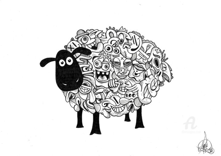 Mouton - Drawing,  8.3x11.7 in, ©2020 by Art De Noé -                                                                                                                                                                                                                                                                                                                                                                                                                                                                                                                                                                                                                                                                                  Tribal Art, tribal-art-950, Animals, People, mouton, sheep, monde, wakeup, manipulation, world, 2020, covid19, artdenoe, art de noé