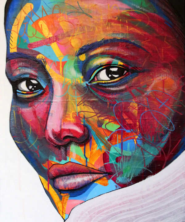 Feminine Painting, acrylic, street art, artwork by Art De Noé